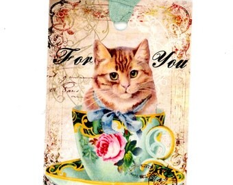 Cat Gift Tags , Vintage Tags , Cat in Teacup , Shabby Tags