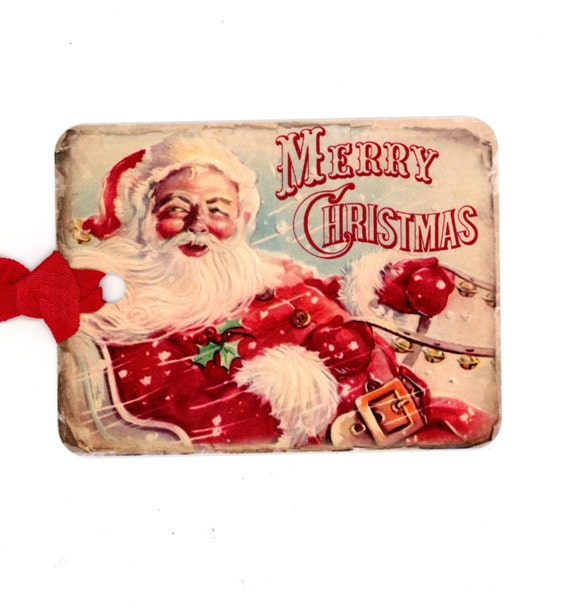 Santa Tags , Christmas Gift Tags , Vintage Santa , Vintage Christmas , Merry Christmas , Shabby Tags , Holiday