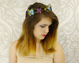 Bridal Flower Crown, Blue, Purple, Green Bridal Headpiece, Bridal Hair Accessory, Woodland Wedding, Rustic Flower Crown, Rustic Wedding