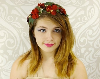 Red and Gold Flower Crown, Christmas Winter Flower Wreath, Holly Headpiece, Bohemian Headpiece, Bridal Headpiece, Flower Girl, Circlet