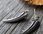 crab CLAW SPIKE studs oxidized sterling silver post earrings