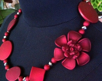 Womens Necklace, Deep Red, Beaded flower necklace, 54cm