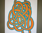 Tangle 2, screen print orange cyan 12x19