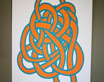 Tangle 2, screen print orange cyan 12x19