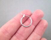 14mm Hoop Earrings, Platinum Plated Ear Rings, C39