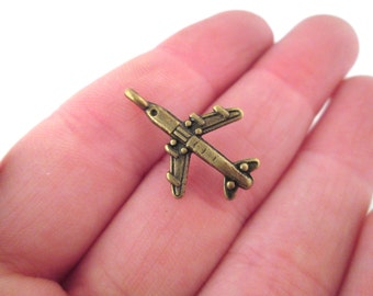 Brass plated airplane charms 24x15mm, pick your amount, G191