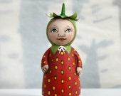 Anthropomorphic Strawberry Original Hand Painted Folk Art Mini Peg Doll Sculpture OOAK