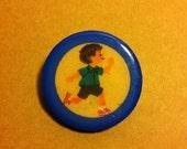 Running Blue Boy Wooden Brooch
