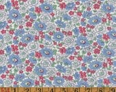 Vintage Feedsack Fabric - Red, White, & Blue Floral - Flour Sack/Feedsack Quilting Cotton 1940s 1930s
