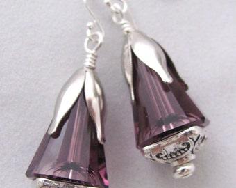 Purple Earrings Swarovski Earrings Purple Amethyst Swarovski Cones Silver Pewter and Sterling Silver Earrings Gift Idea for Girlfriends