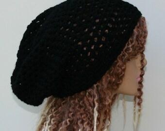 Soft slouchy beanie, Black basic hat, Dread Tam hat, Slouchy Beanie, Hippie Snood Hat women hat slouch beanie, wool blend beanie, man beanie