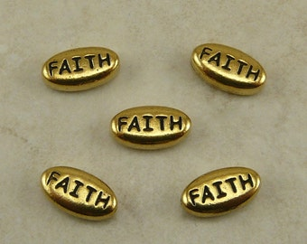 5 TierraCast FAITH Word Beads > Religion Spiritual Name Belief - 22kt Gold Plated Lead Free Pewter - I ship Internationally 5645