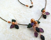 Art Nouveau Amethyst Harvest Necklace, Womens Gift for Her, Statement Woodland Boho Jewelry