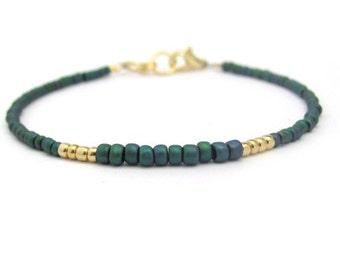 Teal Bracelet, Friendship Bracelet, Petite Glass Beads, Bridesmaid Bracelets, Dark Teal Bracelet, Seed Bead Bracelet, Beaded Bracelet