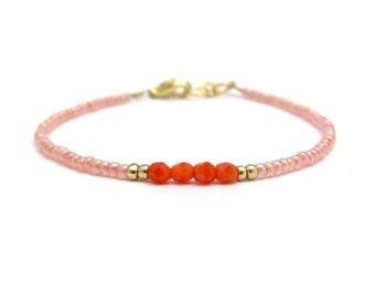 Peach Bracelet, Orange Friendship Bracelet, Friendship Bracelet, Seed Bead Bracelet, Beaded Bracelet, Peach Wedding, Peach Bridesmaid
