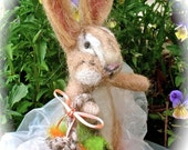 Needle Felted Bunny Rabbit Doll and Vegetable Basket; Collectible,  Room Decor