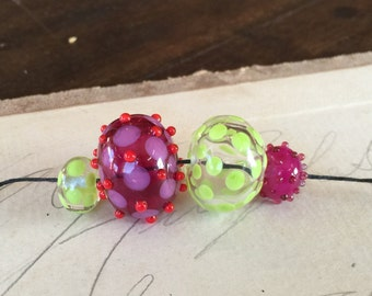 Hot pink and green hollow lamp work beads