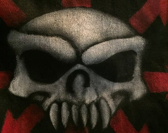 Wasteland Warrior Chaos Skull Art Jacket Back Panel OOAK