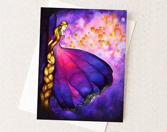 Disney Princess Party Invitation - Unique Tangled Rapunzel Greeting Cards - Wholesale Sets Available