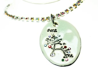 Darwin Tree Sparkle Surly Necklace with Swarovski Crystals