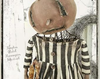Primitive Industrial Pumpkin Doll Mannequin Dress Form Hand Made Halloween Dirty Fabric Metal Kim Kohler Veenas Mercantile