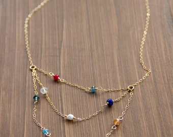Mother's or Grandmother's Multi-strand Birthstone Necklace in Gold