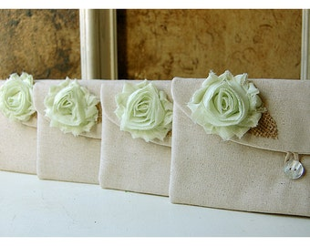mint pearls rustic bag clutch set 3 4 5 wedding raw cotton linen rose purse Personalize Bridesmaid party Custom Pouch gift MakeUp