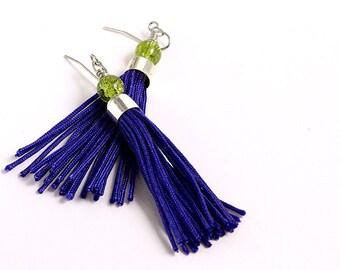 Tassel Earrings // Purple // Short // Green Glass Beads // Statement Earrings