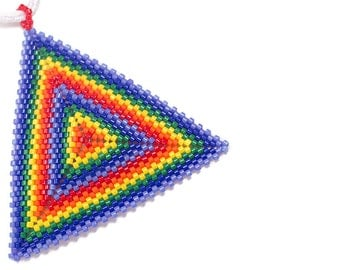 Beaded Triangle Necklace // Rainbow // Pendent // Made to Order