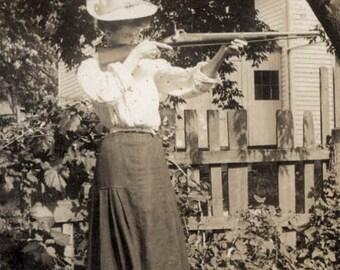 Vintage Photo Western Woman Cowgirl Shoots Rifle Gun Like Annie Oakley Color Photograph Print