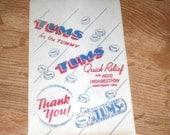 5 Vintage Tums Medicine Drug Store Pharmacy Bags Old Store Stock