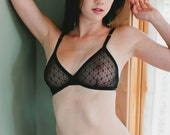 Sheer Black Bra With Adjustable Back Hook Closure And Gold Adjustable Straps - Sexy See Through Made To Order Lingerie ' Bird Of Paradise'