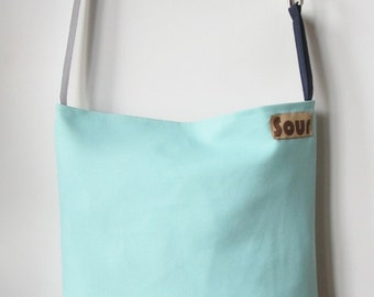 ON SALE Down The Road Seafoam Green, Aqua, Navy Blue, Gray and Polka Dot Sling Tote Bag with upcycled belt buckle