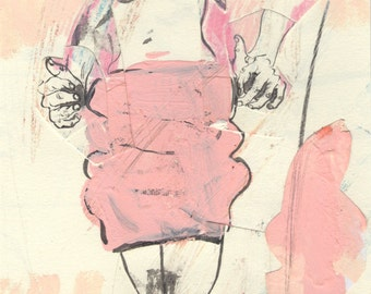 Only Woman in a Pink Skirt (original drawing, 2015)