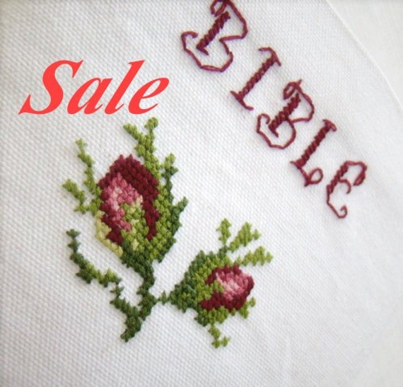 HUGE SALE - Cross Stitched Bible Cover and Bible