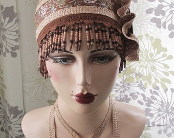 Wood Beaded Tapestry Cloche Hat