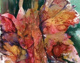 Fire Fairy ...  Original Fairy Pixie Goddess watercolor painting... by Kathy Morton Stanion EBSQ