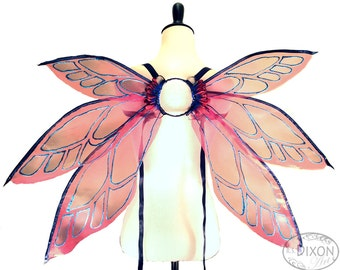 CLEARANCE SALE - Hope No. 5 - Medium Organza Fairy Wings in Red and Blue