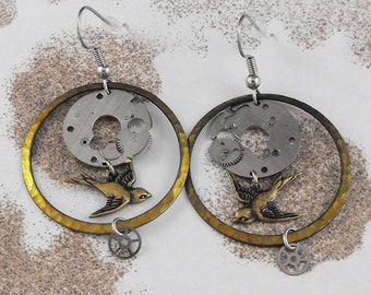Golden Flying Mechanical Birds Steampunk Earrings - The Sparrows Moment in Time by COGnitive Creations