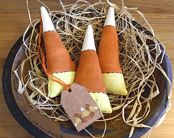 Primitive Halloween Candy Corn Bowl Fillers Holiday Ornaments