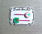 Dutch Hair Pins, Set of Two Bobby Pins, Vintage Upcycled Hair Accessories, Pink Green Retro Charm