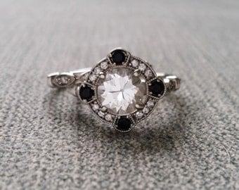 "Estate Halo White Sapphire Black Onyx Diamond Antique Engagement Ring Band Set Victorian Art Deco Edwardian 14K White Gold ""The Charlotte"""