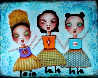 Art Print, 8 x 10, 5 x 7 Whimsical Art, Three Girls Illustration, Retro Mixed Media Print, Friendship, Sisters, Blue Black