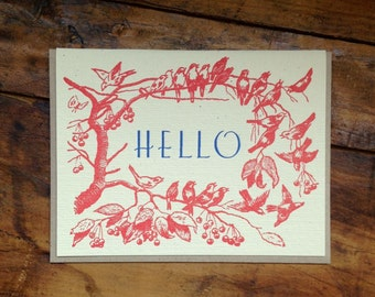 hello birds letterpress card blank recycled paper hand printed