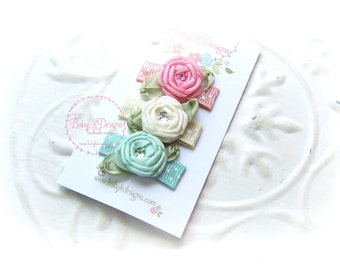 Baby K Designs Three Newborn Baby Bow Snap Or Alligator Clips / Girls Satin Flower Hairbow Set of Three #Pink #Mint Ivory More Sets 2 Sizes