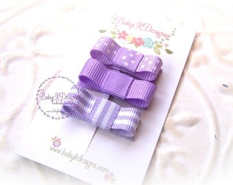 Newborn Baby Mini Bow Snap Clip / Girls PURPLE Barrette Set of Pinch Clips / Stripes Solid Dot Ribbon - More Colors 2 Sizes | 5 STAR RATED