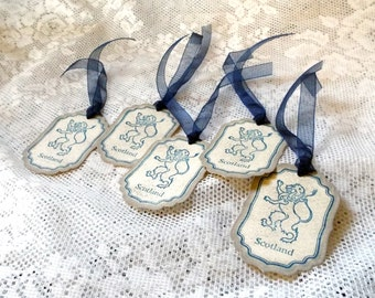 Scottish Rampant Lion Vintage Style Tags in Navy Blue: Set of 5, Scotland Heritage UK, Shabby Chic, Distressed