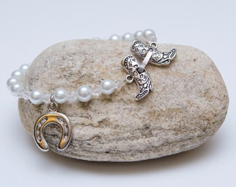 Bridal pearl bracelet bride wedding jewelry country chic cowboy boots horseshoe cottage chic