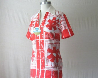Vintage Top 70s Shirt Deadstock Red + White Screen Print Shirt New Old Stock 1970s