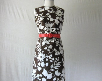 60s Dress Shift Dress Brown + White Floral Dress 1960s Dress